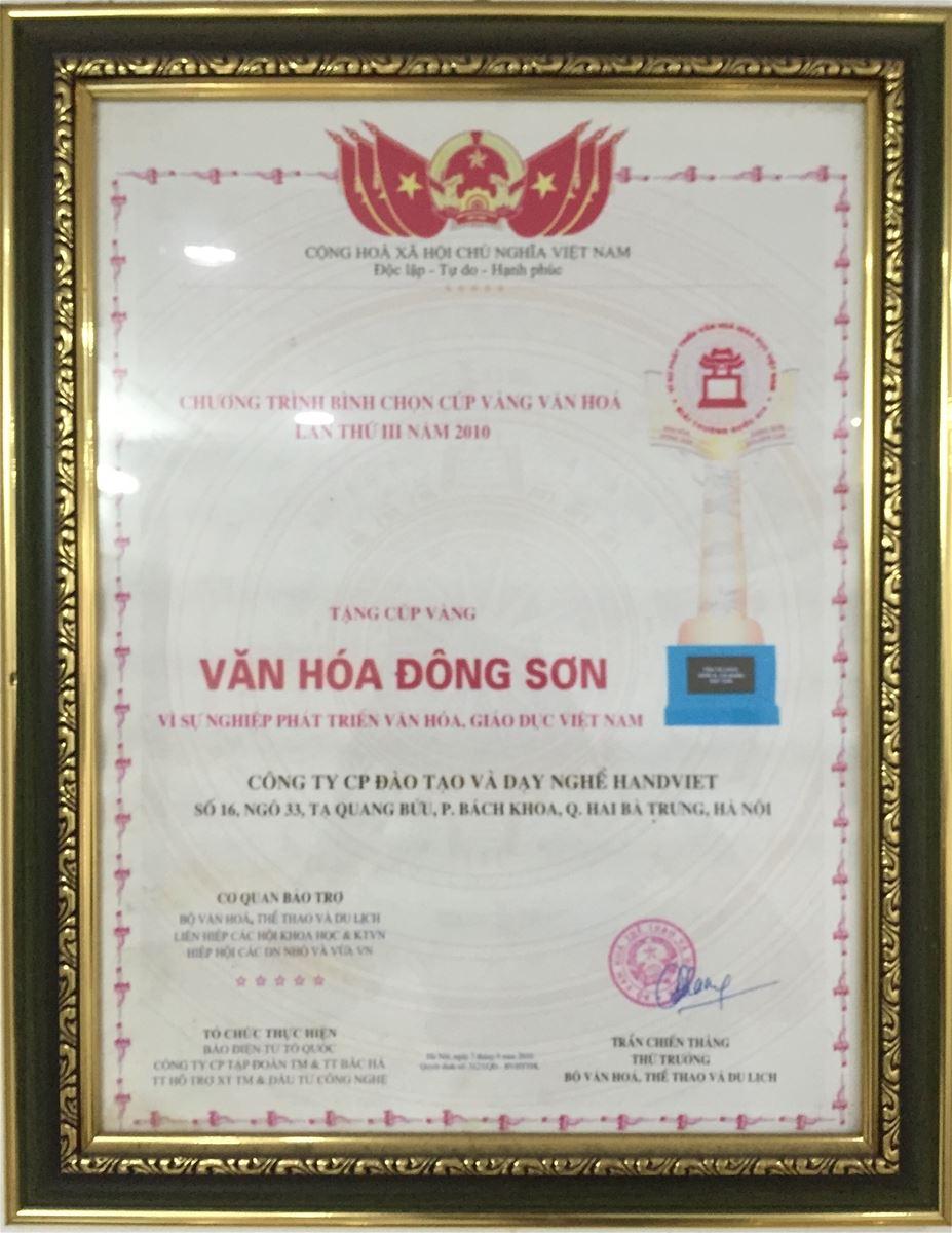 Bằng khen Văn hoá Đông Sơn vì sự nghiệp đào tạo nghề 2010